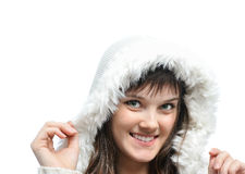 Girl in fur hat Royalty Free Stock Image