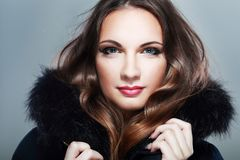 Girl in Fur Hood Stock Photography