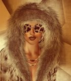 Girl in Fur hood. And fashion accessories.Leopard print glasses. 3d model, digital art perfect for themes about fashion, clothing, shopping, beauty and more stock illustration