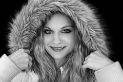 Girl in Fur Hood Stock Image
