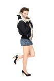 Girl in a fur jacket Royalty Free Stock Photos