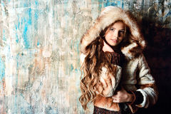 Girl in fur jacket Royalty Free Stock Image
