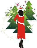 Girl and fur-tree. Christmas composition. Vector illustration Royalty Free Stock Photos