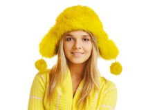Girl in furry hat Royalty Free Stock Images