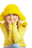 Girl in furry hat Stock Photography