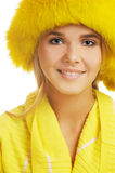 Girl in furry hat Stock Photos