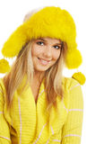Girl in furry hat Royalty Free Stock Photos
