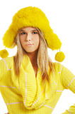 Girl in furry hat Stock Photo
