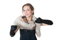 Girl with furs Royalty Free Stock Image