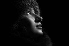 Girl in furs. royalty free stock photo