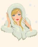 Girl in furs Stock Photos