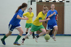 Girl futsal competition royalty free stock photo