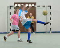 Girl futsal competition Royalty Free Stock Photos