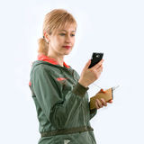 The girl and gadgets Royalty Free Stock Photography