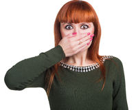 Girl gag handsgir Stock Photography