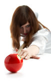 Girl game of billiards Royalty Free Stock Photos