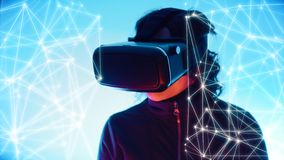 Girl gaming online using virtual reality goggles, connected dots and lines royalty free stock photos