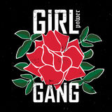 Girl Gang - fashion patch or badge. Embroidery Rose with Leaves. For rock girl gang. T-shirt apparels print for girls. Vector sticker, pin or patches in vintage Royalty Free Stock Images