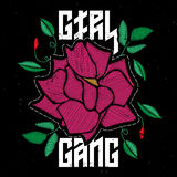 Girl Gang - fashion patch or badge with original lettering.. Girl Gang - fashion patch or badge with original lettering. Embroidery Pink Rose with Leaves for Stock Photos
