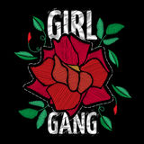 Girl Gang - fashion patche or badge. Embroidery Rose with Leaves. For rock girl gang. Vector sticker, pin or patches in vintage punk style. T-shirt apparels Stock Image