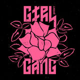 Girl Gang - fashion print or badge. Rose with Leaves for rock gi. Rl gang. T-shirt apparels print for girls. Vector sticker or patches in vintage punk style Royalty Free Stock Images