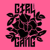 Girl Gang - fashion print or badge. T-shirt apparels print for g. Irls. Rose with Leaves for rock girl gang. Vector sticker or patches in vintage punk style Stock Images