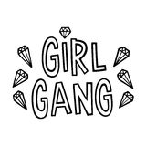 Girl gang! The quote hand-drawing with crystal of ink on a white background. Vector Image. It can be used for website design, article, poster, etc Stock Photos