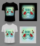 Girl gang typography for t-shirt print, product, brochure, cover. Poster, patch, fabric, rock style, vintage . vector illustration Stock Images