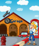 A girl in the garage Royalty Free Stock Photo