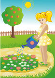 Girl in a garden. Royalty Free Stock Image