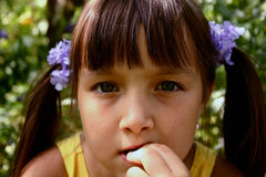 Girl in the garden. Portrait royalty free stock photo