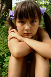 Girl in the garden. Summer royalty free stock image