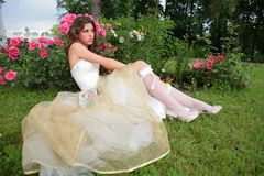 Girl in garden Stock Images