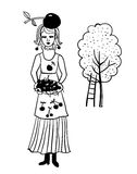 Girl in the garden collects cherry  illustration Royalty Free Stock Image