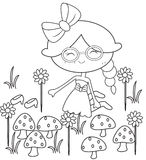Girl in the garden coloring page Stock Photo