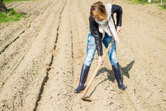 Girl in the garden. Digging potatoes Stock Images