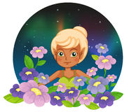 A girl at the garden with fresh flowers. Illustration of a girl at the garden with fresh flowers on a white background Royalty Free Stock Photos