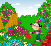 Girl in the garden. Girl irrigates flowers in the garden watering can. Illustration done in cartoon style, on separate layers Stock Photos