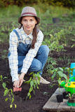 Girl in the garden makes planting seeds Royalty Free Stock Images