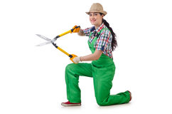 Girl with garden scissors. On white Stock Photography