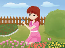 Girl in the garden. Vector illustration of a cute little girl playing with a butterfly in the garden Royalty Free Stock Images