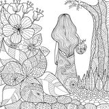 Girl in the garden. Whimsical line art for coloring book for adult Royalty Free Stock Photography