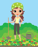 Girl the gardener. The color full image, no gradient, bright colors, vector Stock Photography