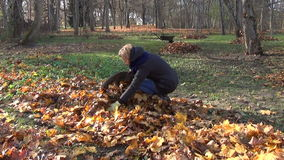 Girl gardener autumn work stock footage