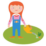 Girl gardener character Royalty Free Stock Image