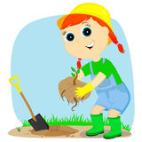Girl gardener Stock Photo