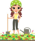 Girl the gardener on a white background Stock Photos