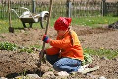 Girl gardening Stock Photo