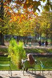 Girl in the Gardens of Luxembourg of Paris Royalty Free Stock Photo