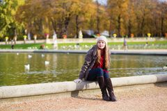 Girl in the Gardens of Luxembourg of Paris Royalty Free Stock Image